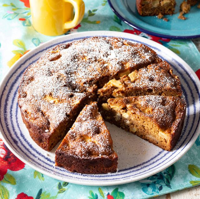 apple cake recipe single layer cake with diced apples and apple butter topped with powdered sugar