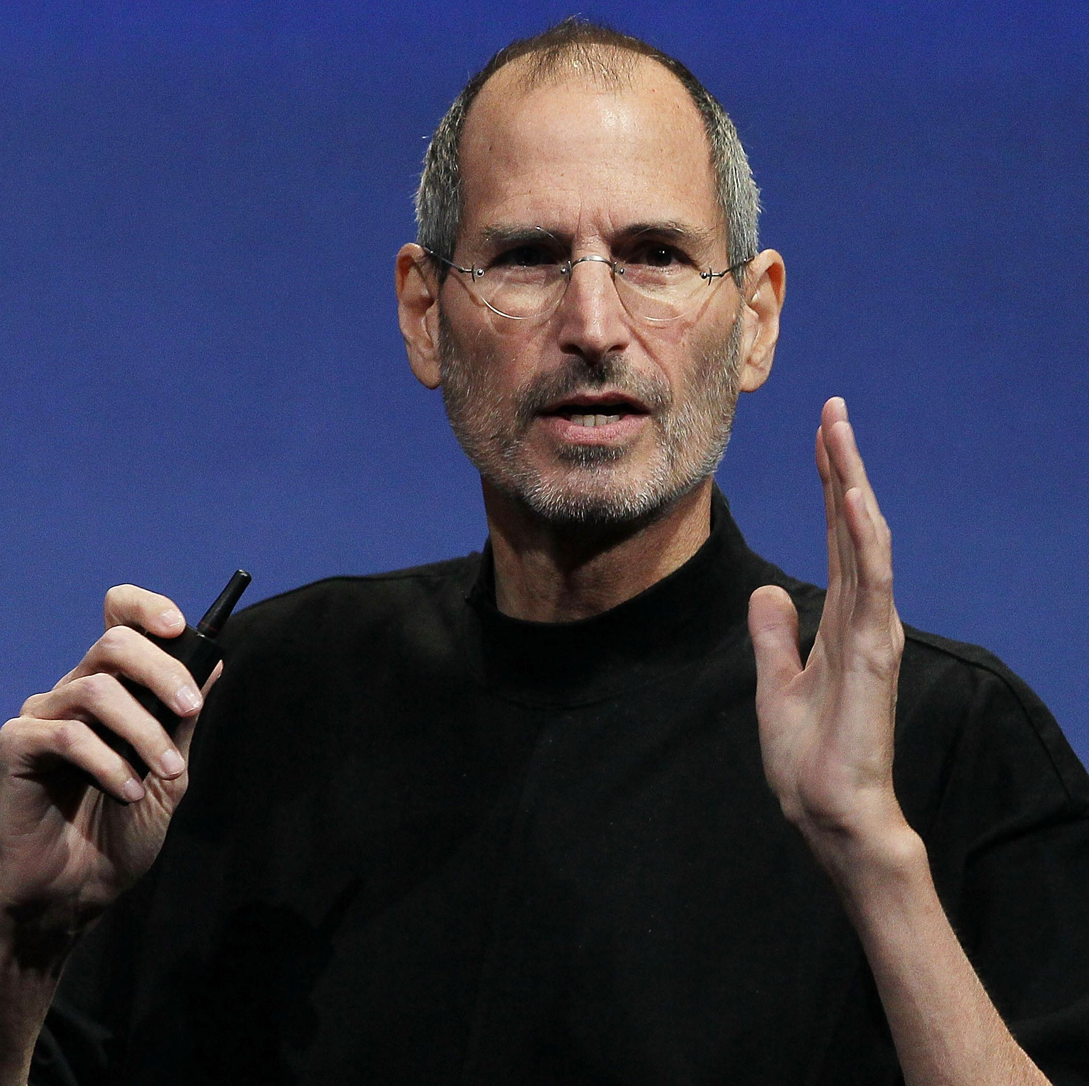 Steve Jobs in his signature Issey Miyake turtleneck.