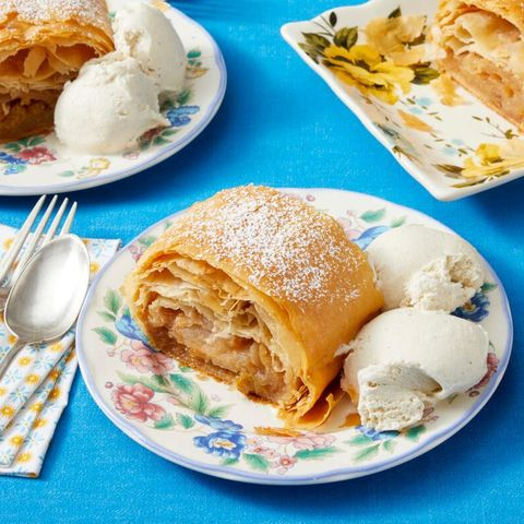apple strudel  on plate with ice cream