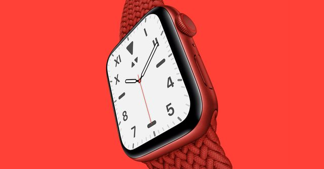 apple watch on red background