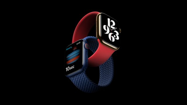 apple watch series 6 in red and blue