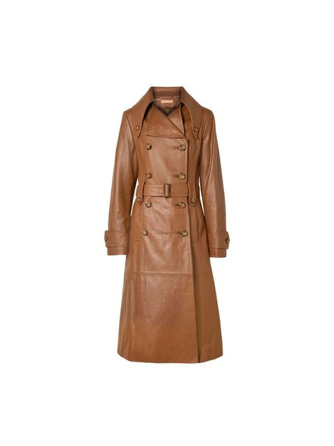 Clothing, Trench coat, Coat, Outerwear, Overcoat, Brown, Tan, Beige, Sleeve, Leather,