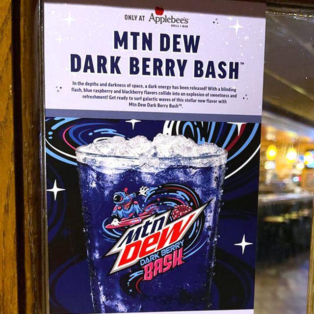 applebee's pepsico mountain dew dark berry bash soda
