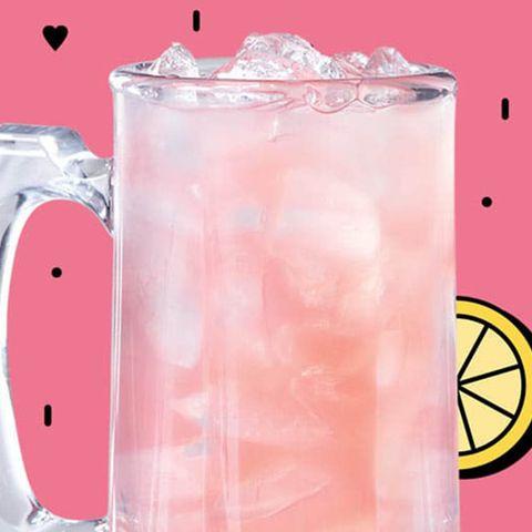 Drink, Pink, Highball glass, Non-alcoholic beverage, Italian soda, Paloma, Fizz, Food, Cocktail, Highball,