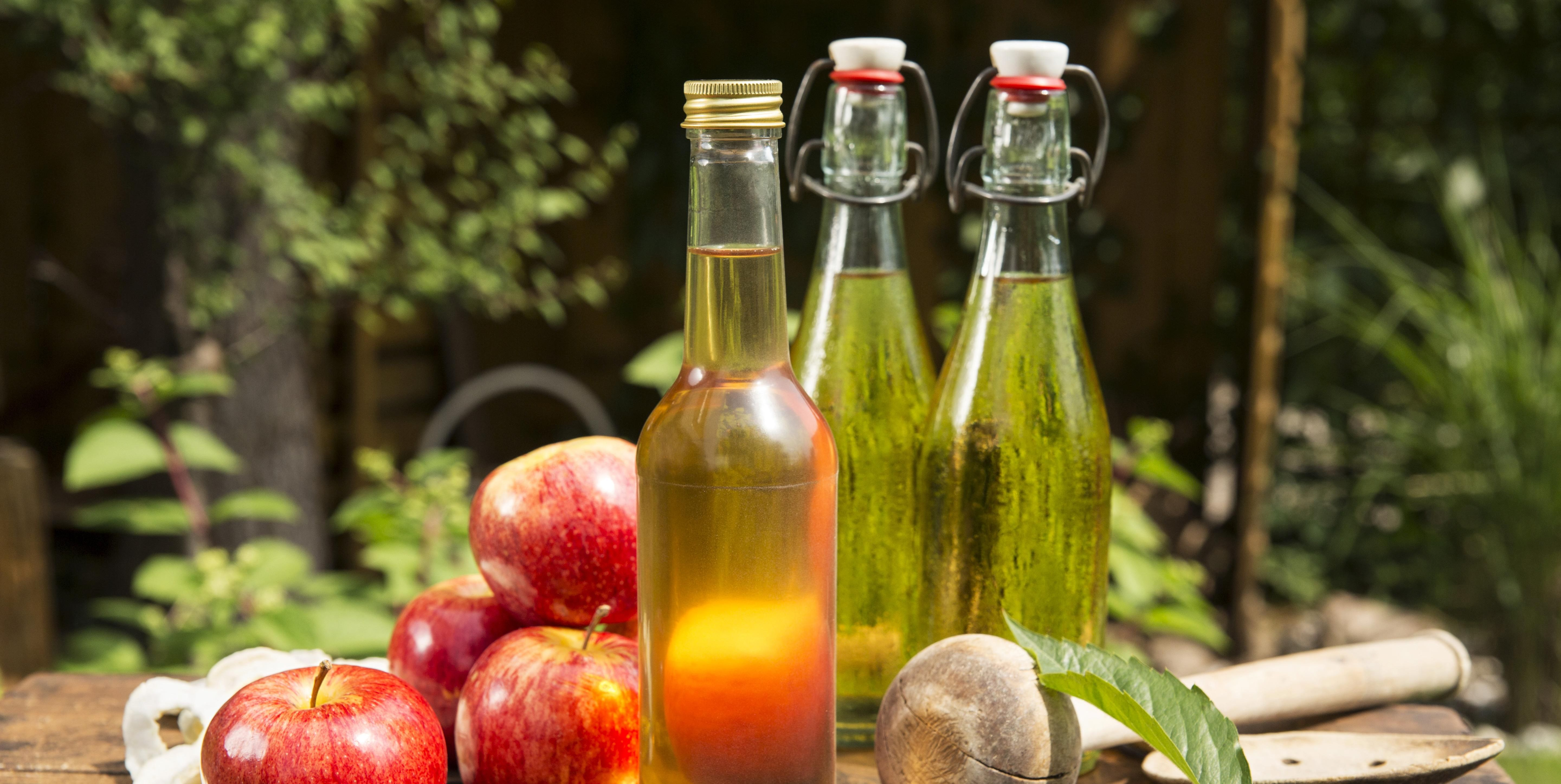Apples with apple cider vinegar and apple juice on a wooden box in the garden, Germany