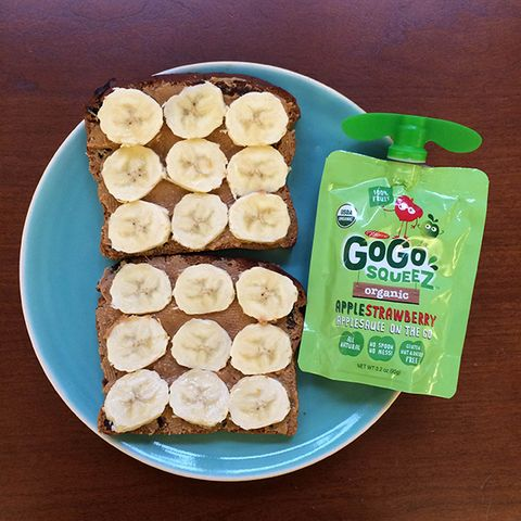 Peanut butter and banana sandwich with yogurt