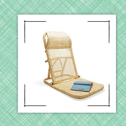 gingham apron and woven lawn chair