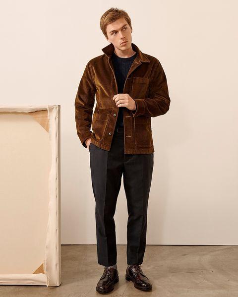 man wearing jcrew chore coat