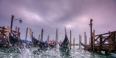 Aqua alta in Venice, Italy.