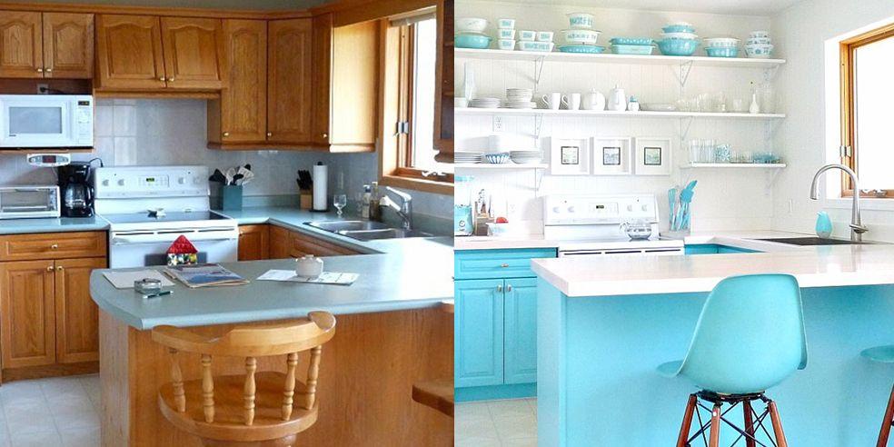 blue kitchen makeover