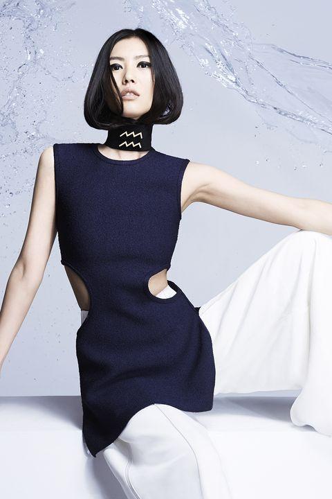 Fashion model, Black, White, Clothing, Dress, Shoulder, Beauty, Fashion, Little black dress, Model,