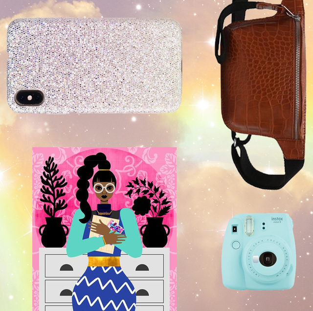 a set of gifts on a starry background, including a polaroid camera, poster, sparkly phone case, and brown belt bag