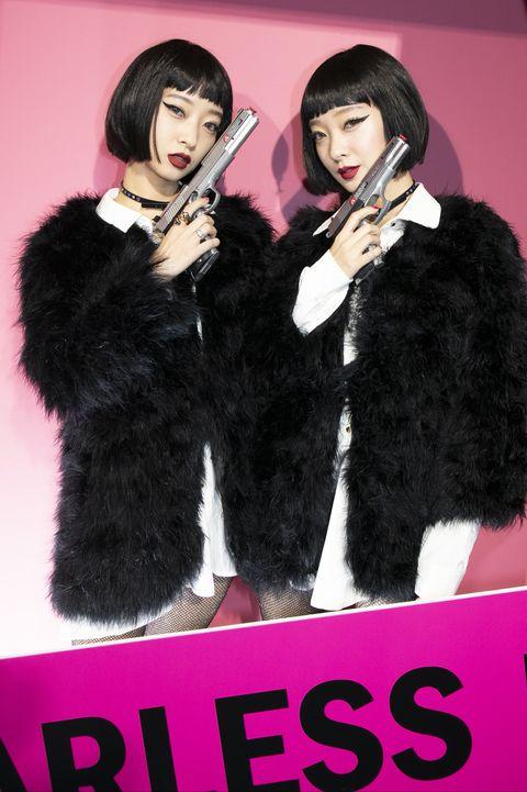 Fur, Fur clothing, Pink, Fashion, Outerwear, Black hair,