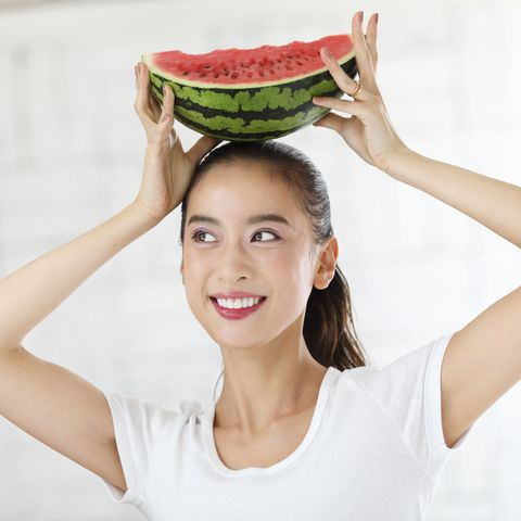 Skin, Food, Smile, Headgear, Vegetable, Plant, Fruit, Watermelon, Photography, Vegetarian food,
