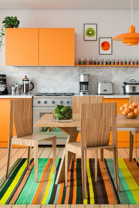 Orange, Room, Kitchen, Yellow, Furniture, Green, Interior design, Product, Turquoise, Floor,