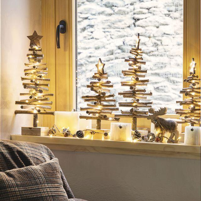 manualidades navideñas árboles de navidad hechos con ramas y palos