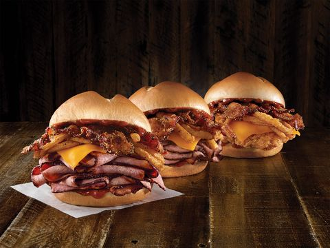 arby�s new sandwich comes with fried chicken brisket and