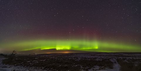 Arc of the auroral oval across the northenr sky, from Alberta, Canada.