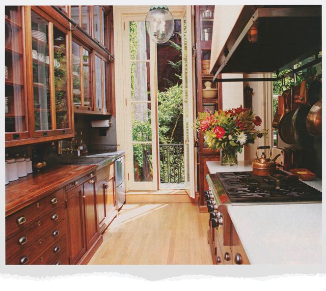 galley kitchen with wood cabinets
