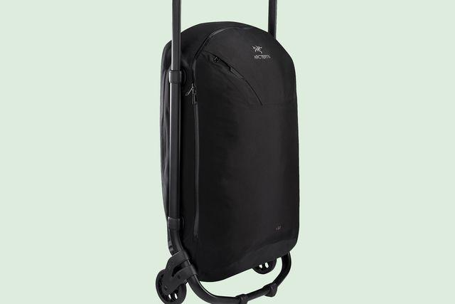 a black duffel bag on wheels