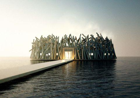 Water, Architecture, Sky, Calm, Sea, House, Horizon,