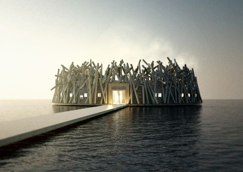Architecture, Water, Sky, Calm, Sea, House, Horizon,