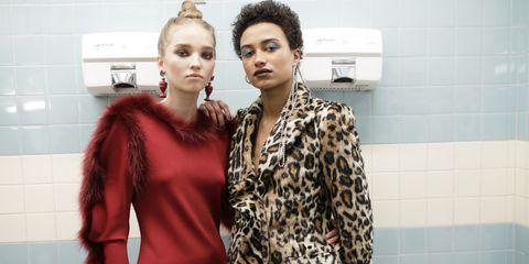 Clothing, Fashion, Red, Fur, Skin, Beauty, Fashion model, Fur clothing, Outerwear, Fashion design,