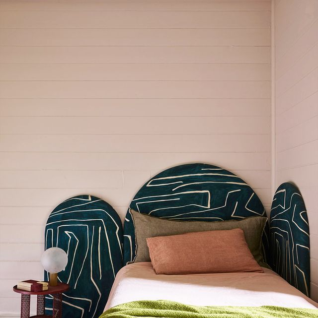 Bedroom, Green, Room, Bed, Wall, Furniture, Bed sheet, House, Textile, Interior design,