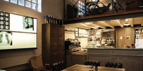 Interior design, Room, Building, Lighting, Furniture, Architecture, Ceiling, Restaurant, Loft, Table,