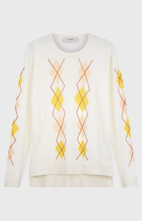Clothing, White, Yellow, Sleeve, T-shirt, Long-sleeved t-shirt, Outerwear, Sweater, Top, Font,