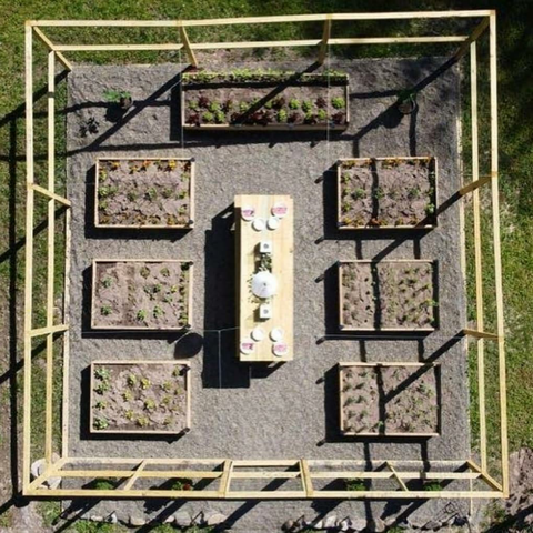 aerial view of planting beds and table