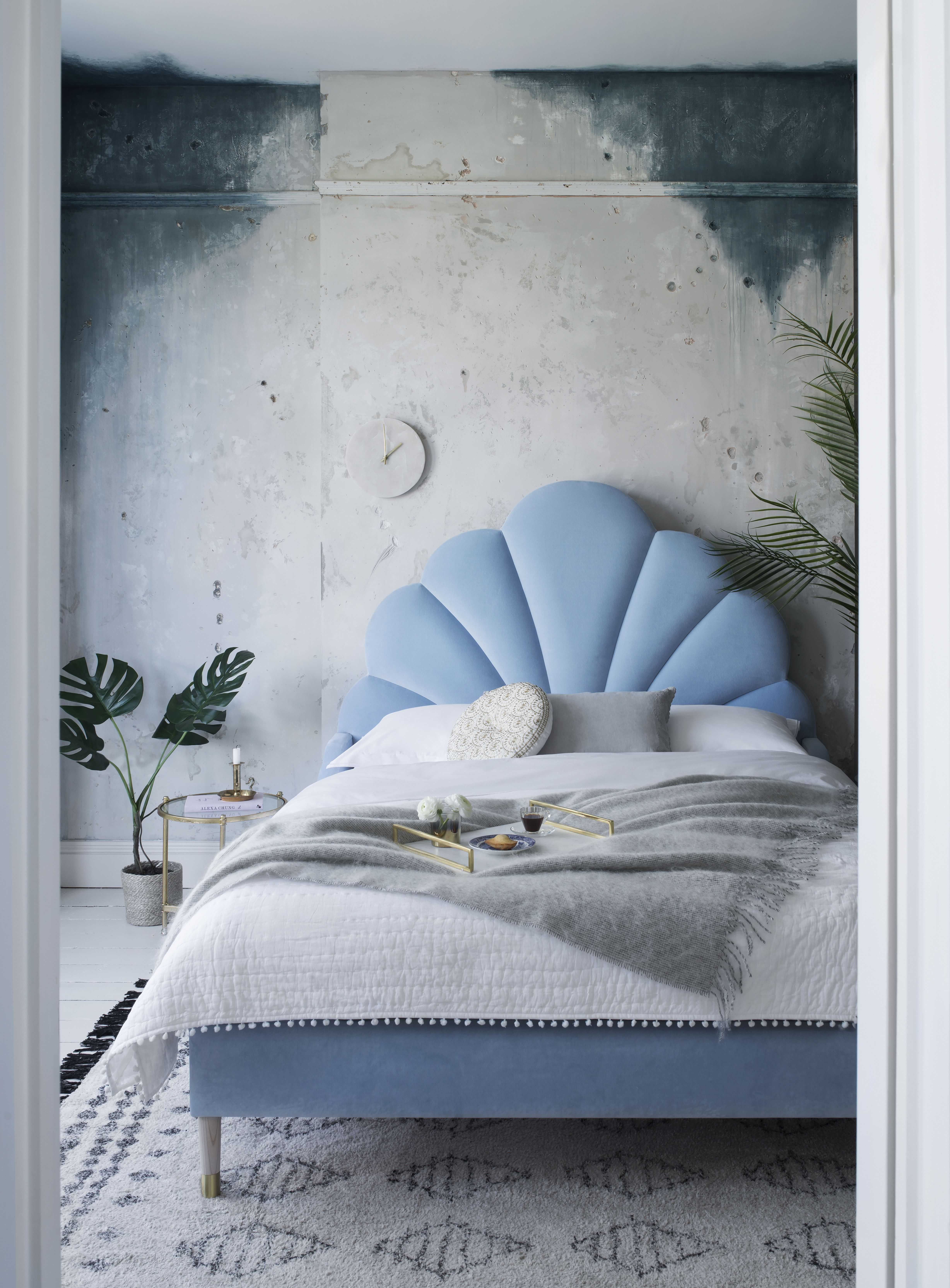Ariel Bed   Kingsize   Luxury Velvet Cloud Sweetpea U0026 Willow