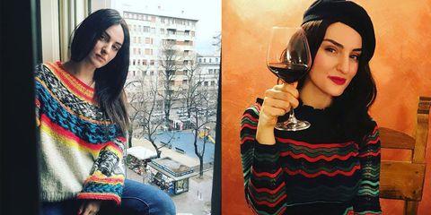 Due foto di Arisa con i capelli lunghi