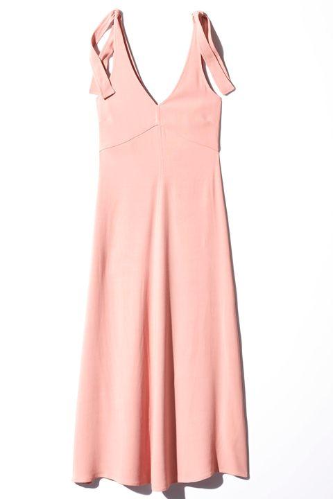 Clothing, Pink, Dress, Day dress, Neck, Peach, A-line, Sleeve, Cocktail dress, Collar,