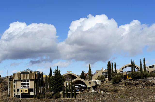 usa, arizona, view of arcosanti experimental town