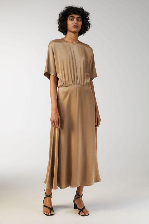 Clothing, Fashion model, Dress, Shoulder, Day dress, Fashion, Khaki, Sleeve, Beige, Joint,