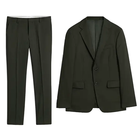 Suit, Clothing, Outerwear, Blazer, Formal wear, Jacket, Button, Trousers, Tuxedo, Suit trousers,