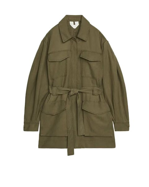 arket belted khaki jacket with pockets   £135
