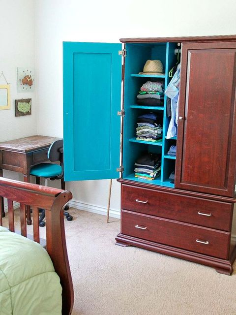 Furniture, Room, Turquoise, Chest of drawers, Cupboard, Drawer, Cabinetry, Hutch, Shelf, Desk,