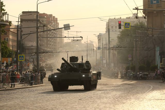 military hardware takes part in rehearsal of victory day parade in moscow