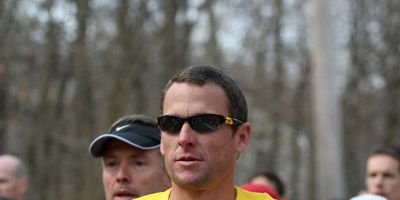 Lance Armstrong running a marathon