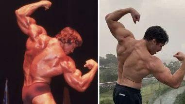 Joseph Baena muestra una espalda musculada como su padre, Arnold Schwarzenegger