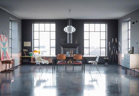 Floor, Flooring, Room, Interior design, Furniture, Table, Ceiling, Hall, Hardwood, Couch,