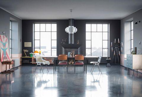 Floor, Flooring, Room, Interior design, Table, Furniture, Hardwood, Hall, Fixture, Wood flooring,