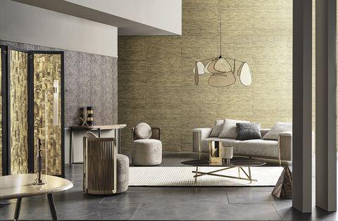 Room, Living room, Furniture, Interior design, Wall, Floor, Lighting, Table, Coffee table, Beige,