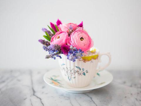Teacup, Pink, Cup, Flower, Bouquet, Cut flowers, Tableware, Drinkware, Cup, Still life,