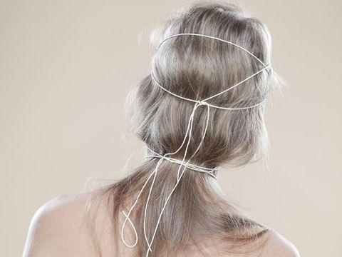 Hair, Hairstyle, Blond, Beauty, Long hair, Bun, Chin, Chignon, Shoulder, Bridal accessory,