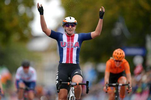 Megan Jastrab wins gold at the junior women's road race