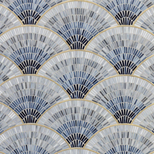 fanned blue, gray, and gold tile