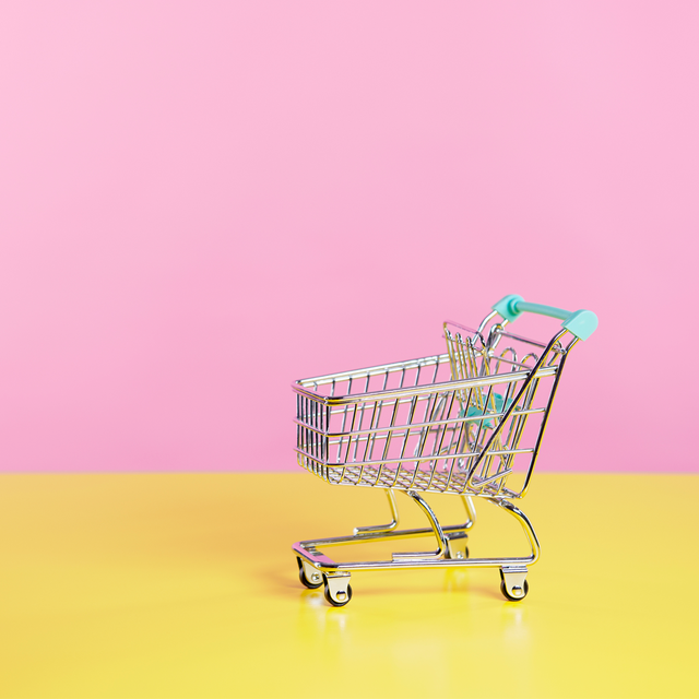 mini trolley on pink background